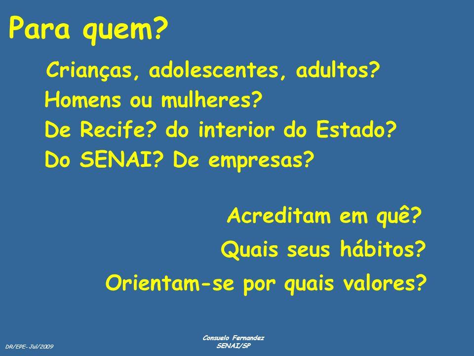 DR/EPE- Jul/2009 Consuelo Fernandez SENAI/SP Para quem? Crianças, adolescentes, adultos? Homens ou mulheres? Do SENAI? De empresas? Acreditam em quê?