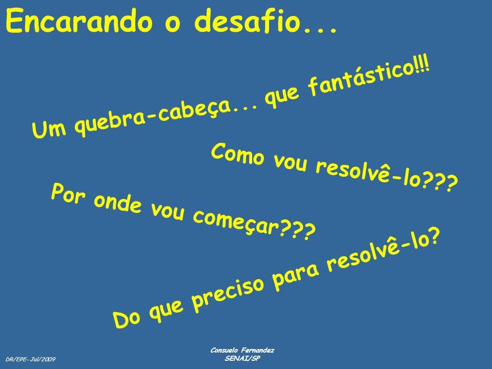 DR/EPE- Jul/2009 Consuelo Fernandez SENAI/SP Encarando o desafio... Um quebra-cabeça... Por onde vou começar??? Como vou resolvê-lo??? Do que preciso