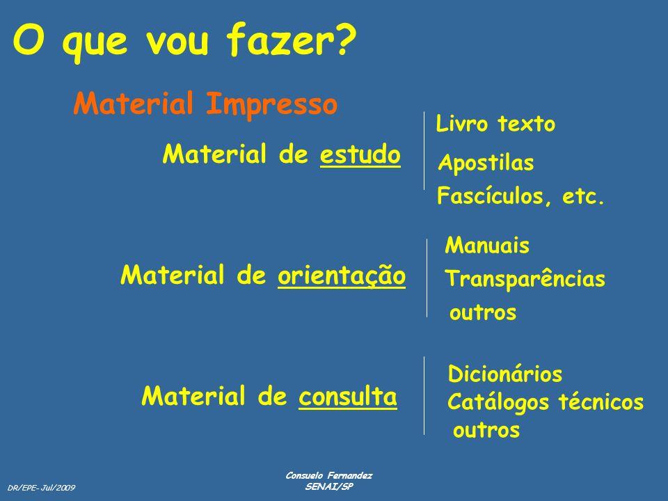 DR/EPE- Jul/2009 Consuelo Fernandez SENAI/SP Material de estudo Material de orientação Material de consulta Livro texto Apostilas Fascículos, etc. Man