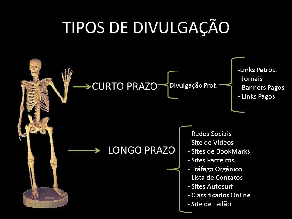 TIPOS DE DIVULGAÇÃO CURTO PRAZO LONGO PRAZO - Redes Sociais - Site de Vídeos - Sites de BookMarks - Sites Parceiros - Tráfego Orgânico - Lista de Cont