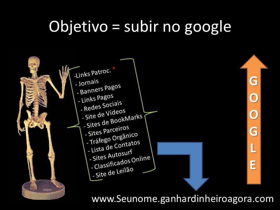 Objetivo = subir no google -Links Patroc. * - Jornais - Banners Pagos - Links Pagos www.Seunome.ganhardinheiroagora.com GOOGLE - Redes Sociais - Site