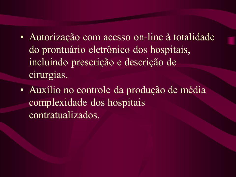 Autorização com acesso on-line à totalidade do prontuário eletrônico dos hospitais, incluindo prescrição e descrição de cirurgias. Auxílio no controle