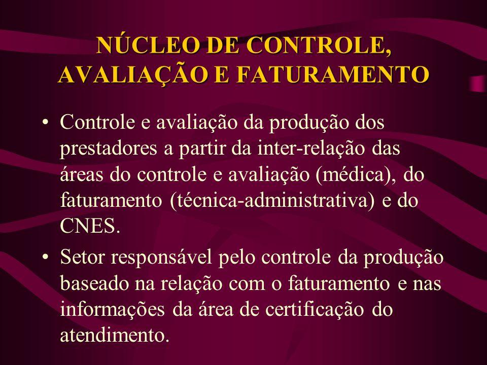 NÚCLEO DE CONTROLE, AVALIAÇÃO E FATURAMENTO Controle e avaliação da produção dos prestadores a partir da inter-relação das áreas do controle e avaliação (médica), do faturamento (técnica-administrativa) e do CNES.