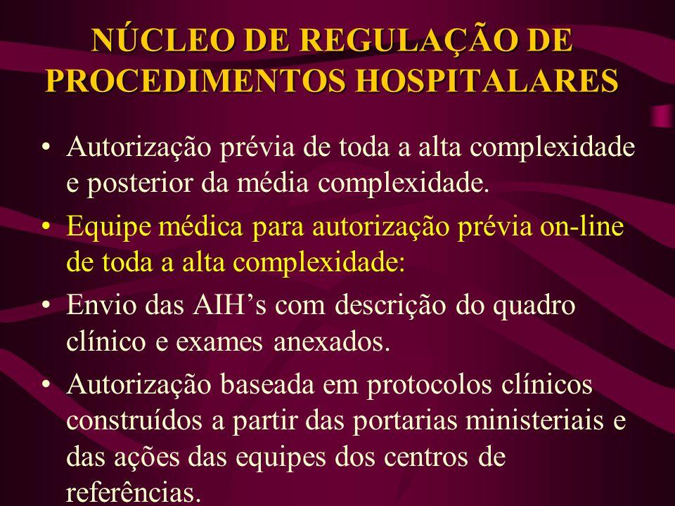NÚCLEO DE REGULAÇÃO DE PROCEDIMENTOS HOSPITALARES Autorização prévia de toda a alta complexidade e posterior da média complexidade. Equipe médica para