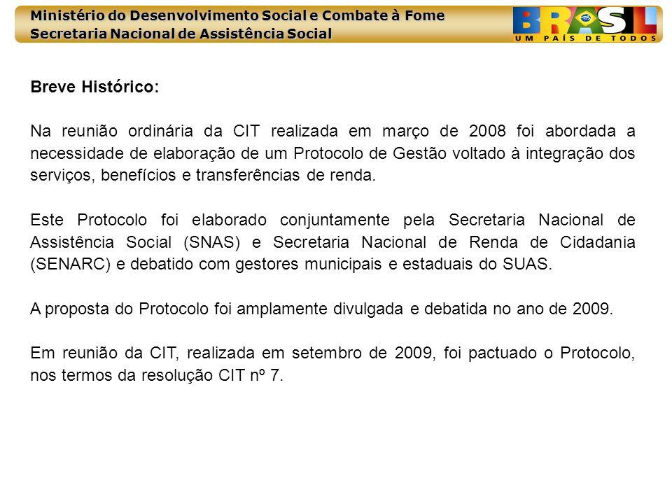 Ministério do Desenvolvimento Social e Combate à Fome Secretaria Nacional de Assistência Social Breve Histórico: Na reunião ordinária da CIT realizada