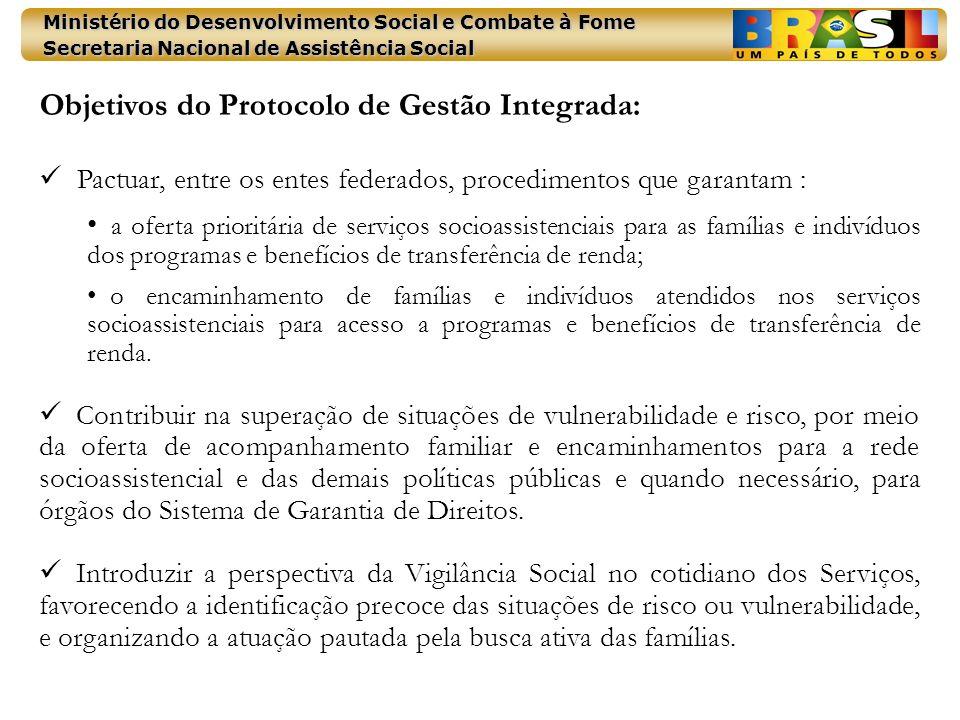 Ministério do Desenvolvimento Social e Combate à Fome Secretaria Nacional de Assistência Social Objetivos do Protocolo de Gestão Integrada: Pactuar, e