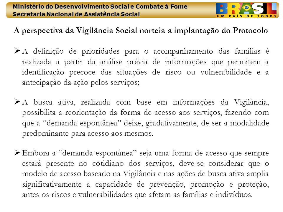 Ministério do Desenvolvimento Social e Combate à Fome Secretaria Nacional de Assistência Social A perspectiva da Vigilância Social norteia a implantaç