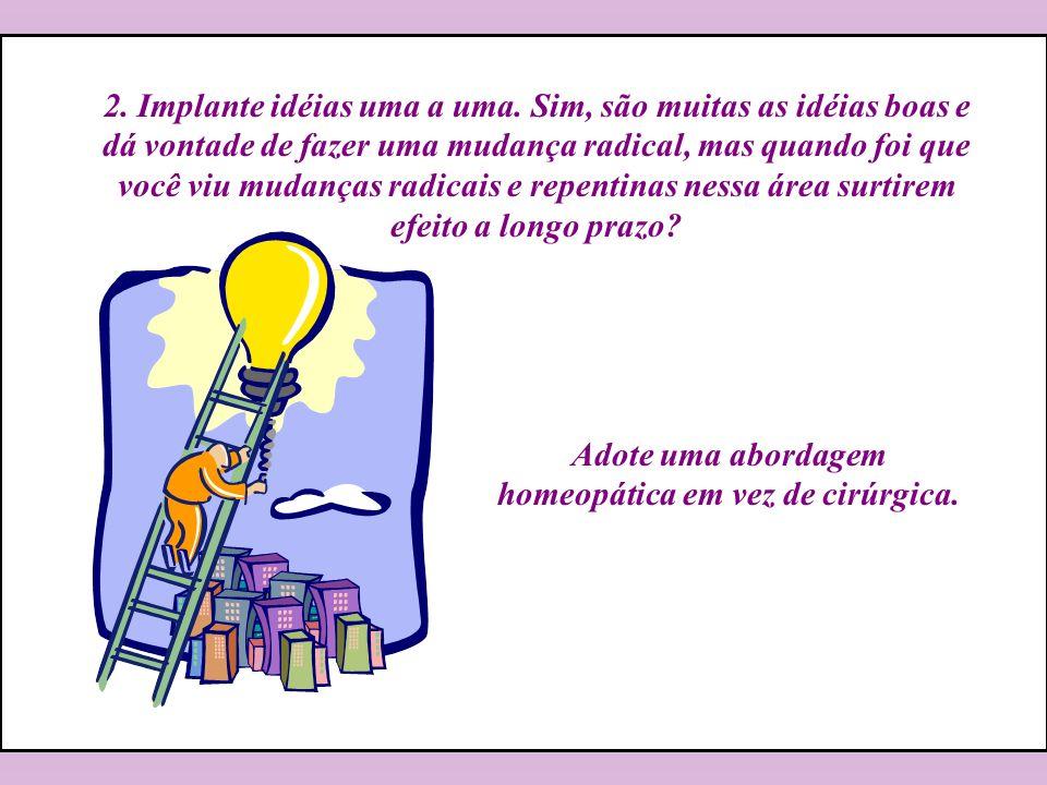 Adote uma abordagem homeopática em vez de cirúrgica. 2. Implante idéias uma a uma. Sim, são muitas as idéias boas e dá vontade de fazer uma mudança ra