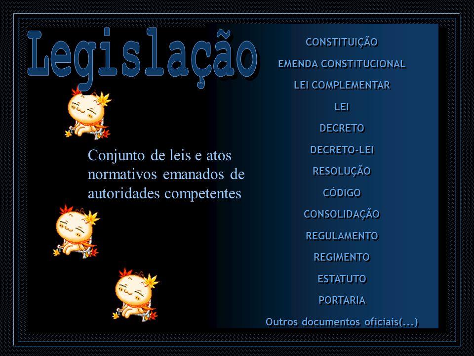 CONSTITUIÇÃO EMENDA CONSTITUCIONAL LEI COMPLEMENTAR LEI DECRETO DECRETO-LEI RESOLUÇÃO CÓDIGO CONSOLIDAÇÃO REGULAMENTO REGIMENTO ESTATUTO PORTARIA Outr
