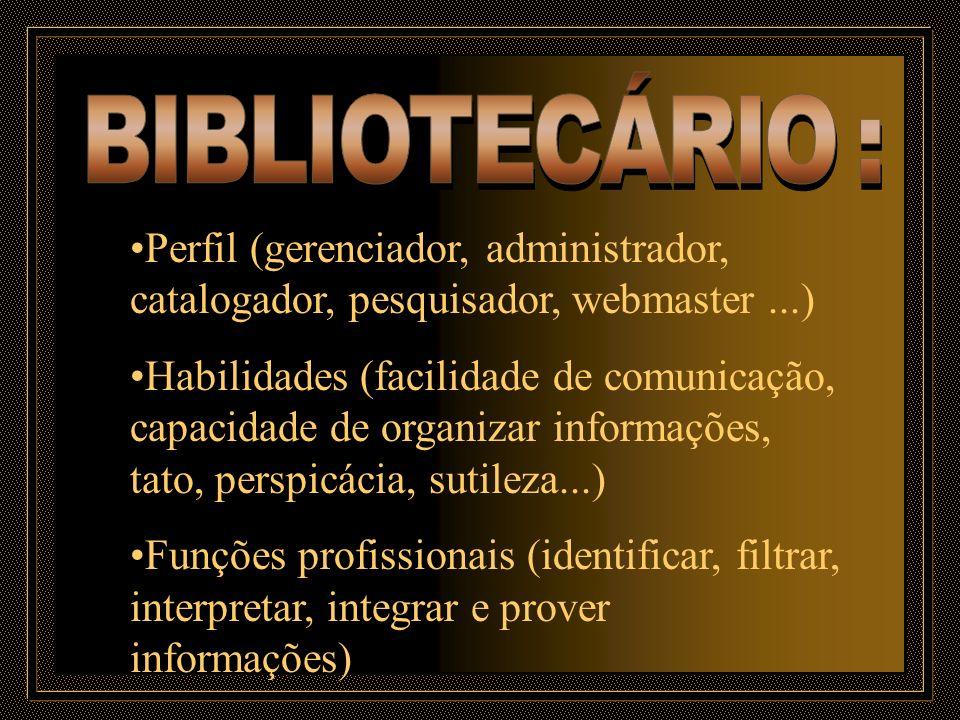 Perfil (gerenciador, administrador, catalogador, pesquisador, webmaster...) Habilidades (facilidade de comunicação, capacidade de organizar informaçõe