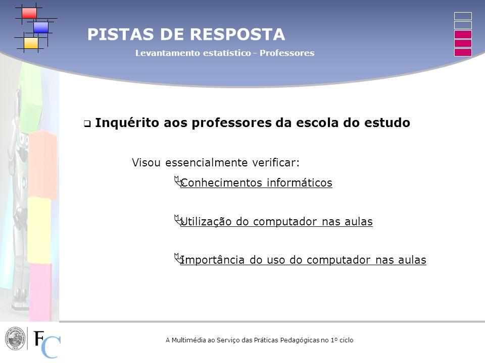 A Multimédia ao Serviço das Práticas Pedagógicas no 1º ciclo Inquérito aos professores da escola do estudo Visou essencialmente verificar: Conheciment