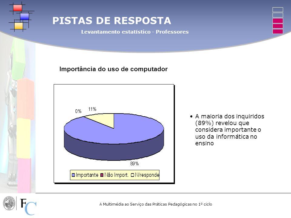 A Multimédia ao Serviço das Práticas Pedagógicas no 1º ciclo PISTAS DE RESPOSTA Levantamento estatístico - Professores Importância do uso de computado