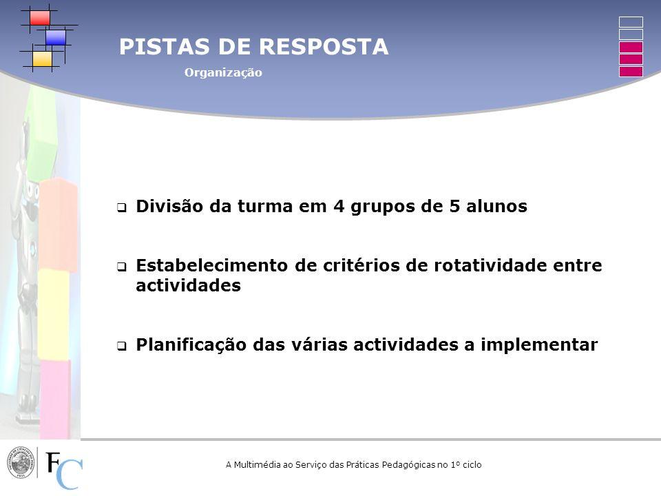 A Multimédia ao Serviço das Práticas Pedagógicas no 1º ciclo PISTAS DE RESPOSTA Organização Divisão da turma em 4 grupos de 5 alunos Estabelecimento d
