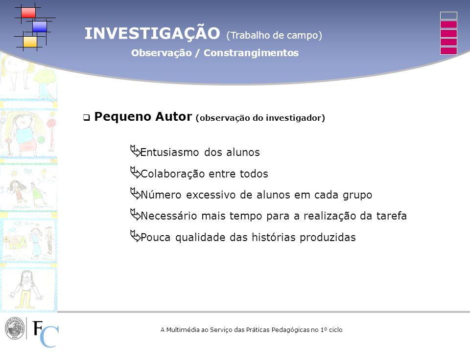 INVESTIGAÇÃO (Trabalho de campo) Observação / Constrangimentos A Multimédia ao Serviço das Práticas Pedagógicas no 1º ciclo Pequeno Autor (observação