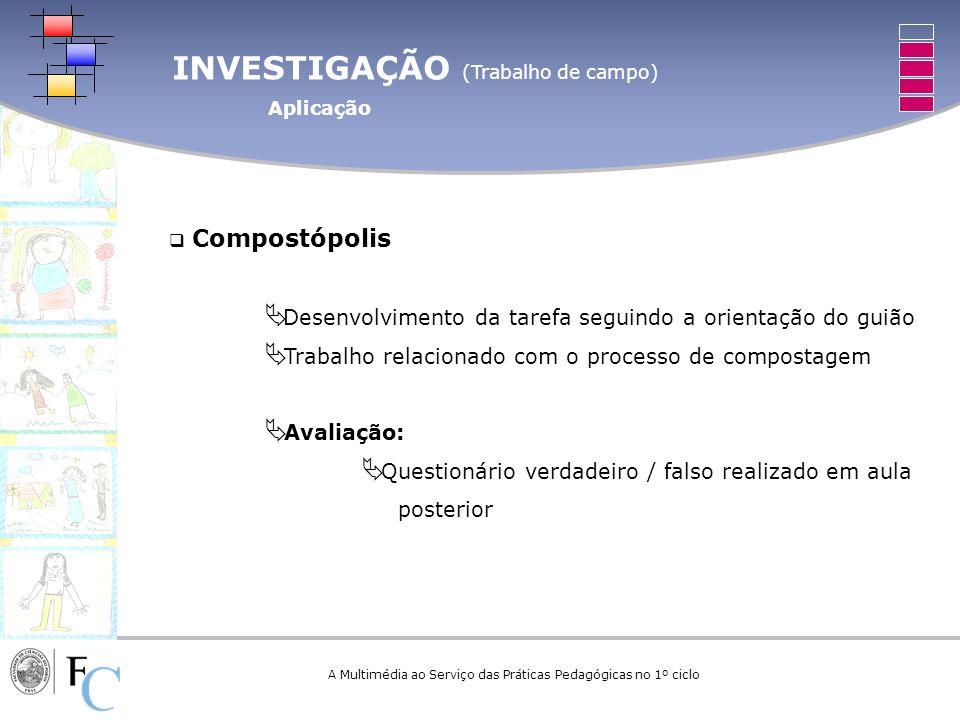 INVESTIGAÇÃO (Trabalho de campo) Aplicação A Multimédia ao Serviço das Práticas Pedagógicas no 1º ciclo Compostópolis Desenvolvimento da tarefa seguin