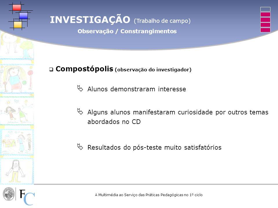 INVESTIGAÇÃO (Trabalho de campo) Observação / Constrangimentos A Multimédia ao Serviço das Práticas Pedagógicas no 1º ciclo Compostópolis (observação