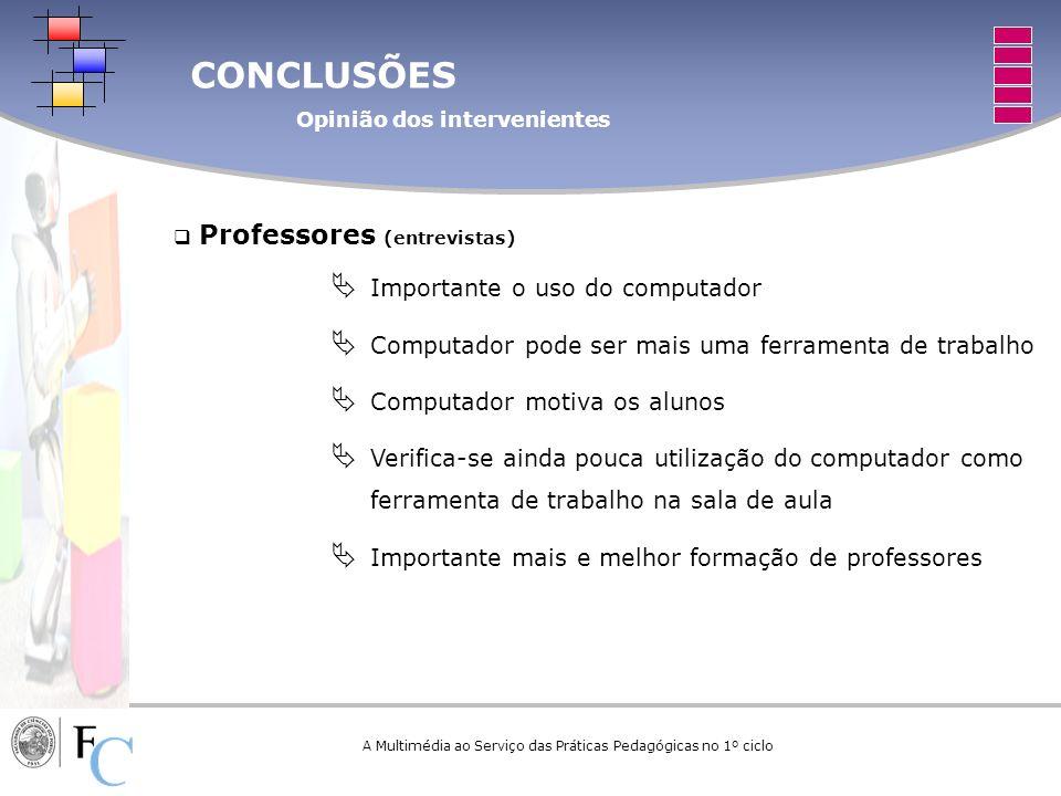 CONCLUSÕES Opinião dos intervenientes A Multimédia ao Serviço das Práticas Pedagógicas no 1º ciclo Professores (entrevistas) Importante o uso do compu