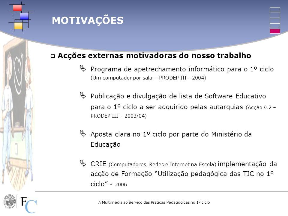 Acções externas motivadoras do nosso trabalho Programa de apetrechamento informático para o 1º ciclo (Um computador por sala – PRODEP III - 2004) Publ