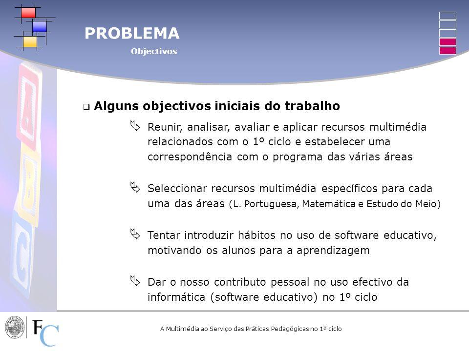 PROBLEMA Objectivos A Multimédia ao Serviço das Práticas Pedagógicas no 1º ciclo Alguns objectivos iniciais do trabalho Reunir, analisar, avaliar e ap