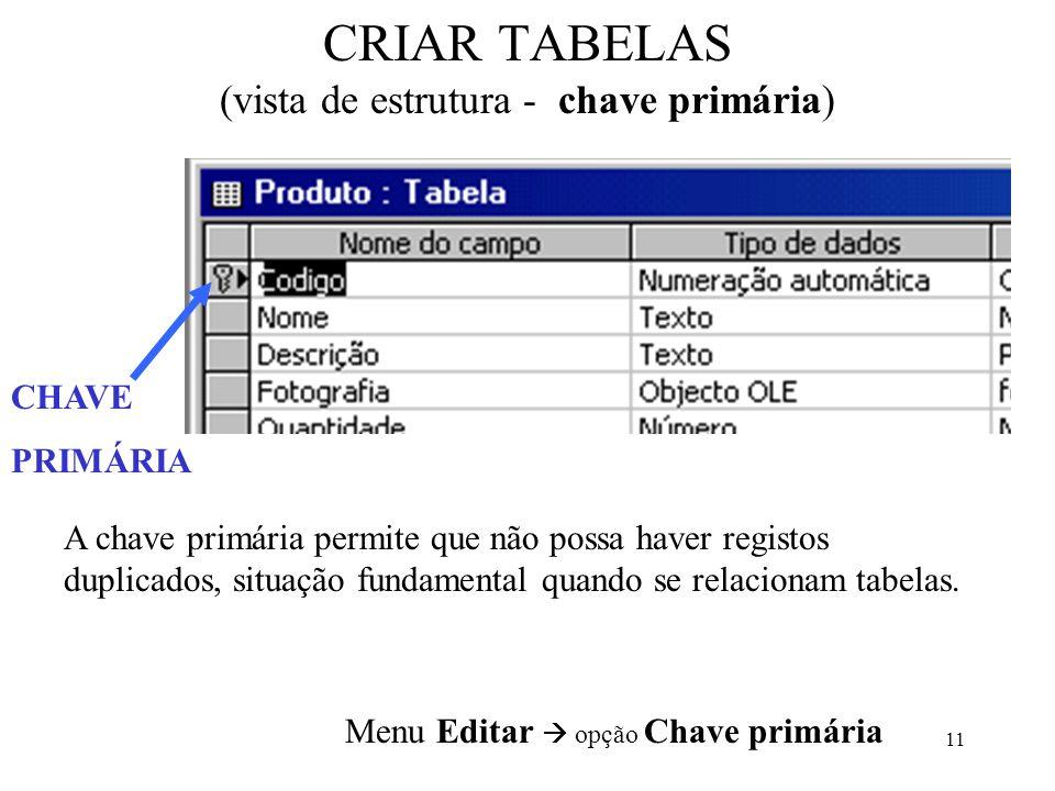 11 CRIAR TABELAS (vista de estrutura - chave primária) CHAVE PRIMÁRIA A chave primária permite que não possa haver registos duplicados, situação funda