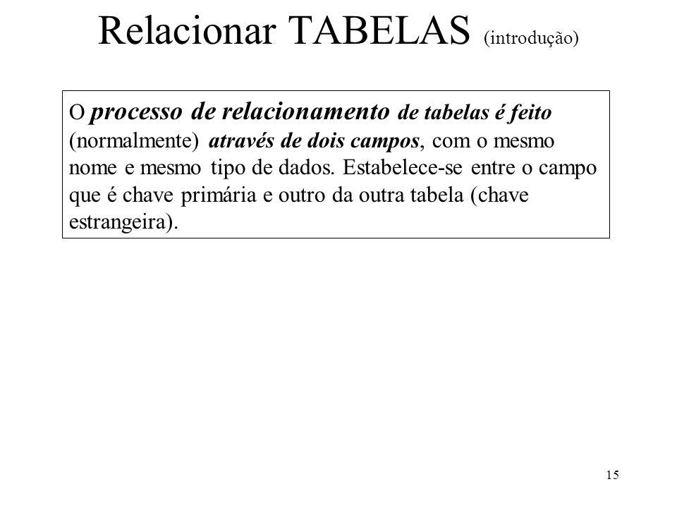 15 O processo de relacionamento de tabelas é feito (normalmente) através de dois campos, com o mesmo nome e mesmo tipo de dados. Estabelece-se entre o