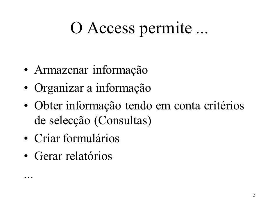 2 O Access permite... Armazenar informação Organizar a informação Obter informação tendo em conta critérios de selecção (Consultas) Criar formulários