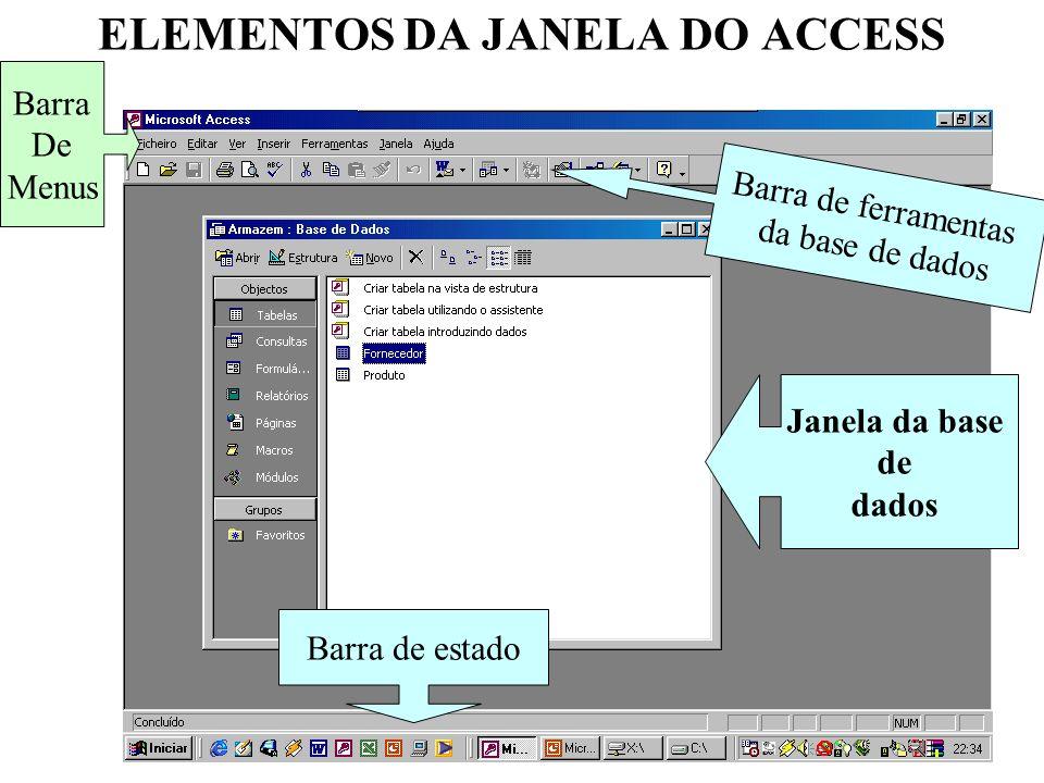 6 JANELA DA BASE DE DADOS Barra de objectos Barra de ferramentas da janela base de dados Lista de objectos do tipo seleccionado na barra de objectos Barra de grupos