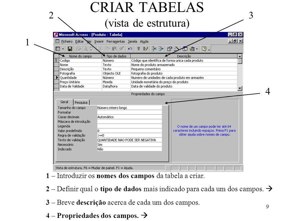 20 Criar CONSULTAS SOBRE TABELAS Com uma consulta pretende-se mostrar os registos da tabela(s) cujos campos (um ou mais campos) cumpram determinadas condições ou critérios.