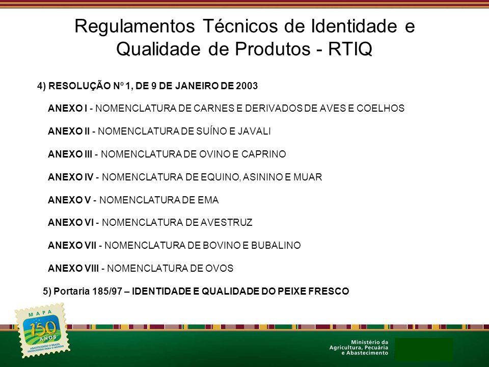 Regulamentos Técnicos de Identidade e Qualidade de Produtos - RTIQ 4) RESOLUÇÃO Nº 1, DE 9 DE JANEIRO DE 2003 ANEXO I - NOMENCLATURA DE CARNES E DERIV