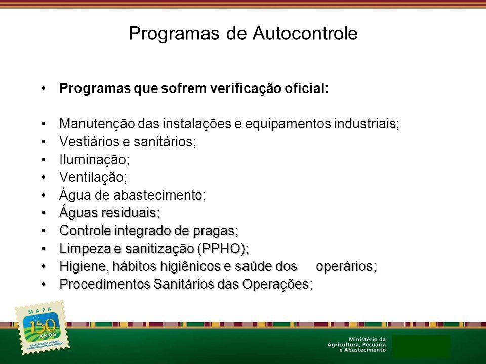 Programas de Autocontrole Programas que sofrem verificação oficial: Manutenção das instalações e equipamentos industriais; Vestiários e sanitários; Il
