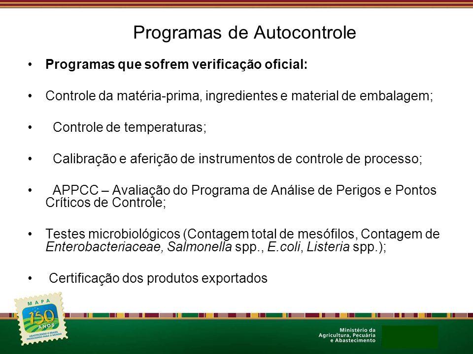 Programas de Autocontrole Programas que sofrem verificação oficial: Controle da matéria-prima, ingredientes e material de embalagem; Controle de tempe