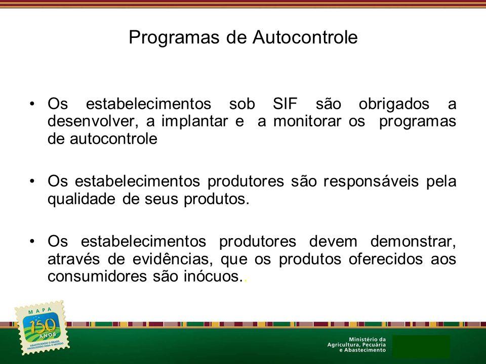 Programas de Autocontrole Os estabelecimentos sob SIF são obrigados a desenvolver, a implantar e a monitorar os programas de autocontrole Os estabelec