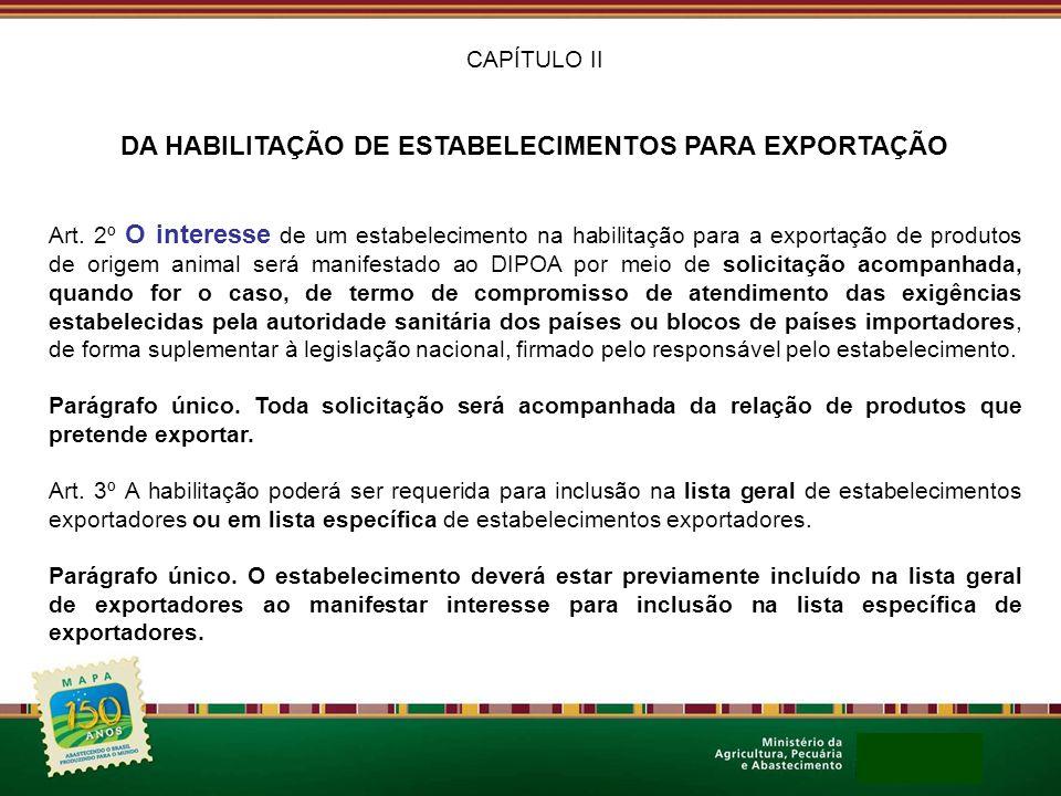 CAPÍTULO II DA HABILITAÇÃO DE ESTABELECIMENTOS PARA EXPORTAÇÃO Art. 2º O interesse de um estabelecimento na habilitação para a exportação de produtos