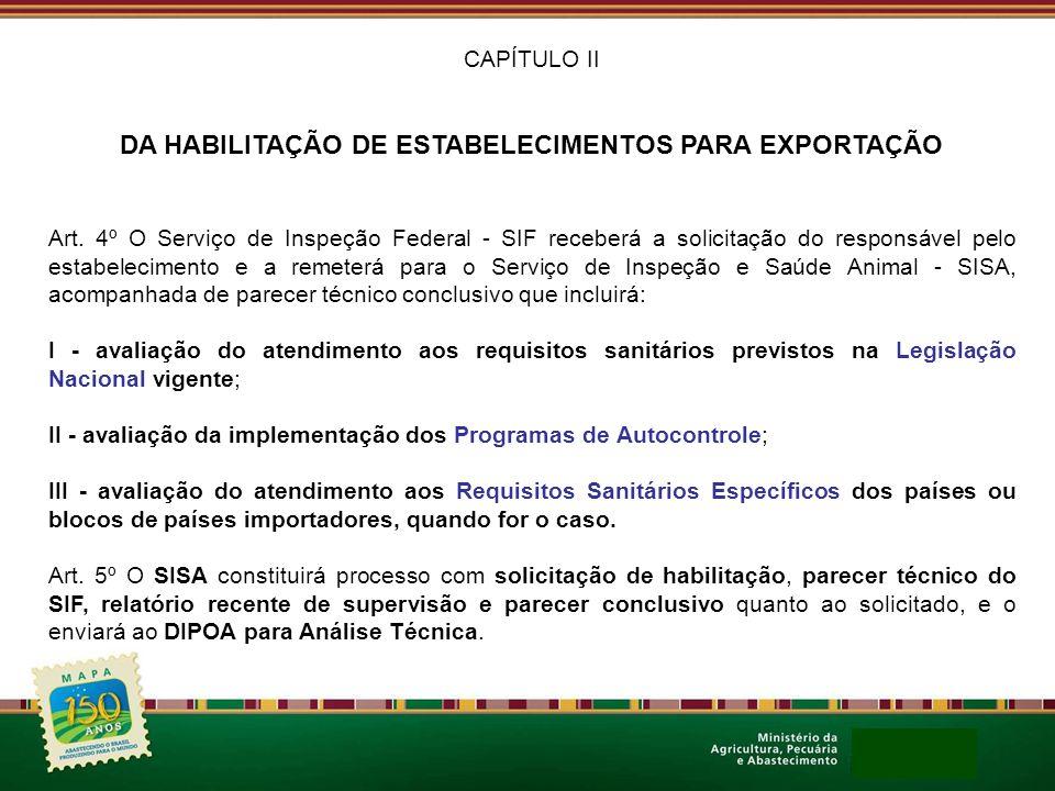 CAPÍTULO II DA HABILITAÇÃO DE ESTABELECIMENTOS PARA EXPORTAÇÃO Art. 4º O Serviço de Inspeção Federal - SIF receberá a solicitação do responsável pelo