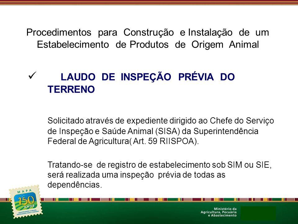Procedimentos para Construção e Instalação de um Estabelecimento de Produtos de Origem Animal LAUDO DE INSPEÇÃO PRÉVIA DO TERRENO Solicitado através d