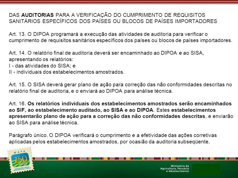 DAS AUDITORIAS PARA A VERIFICAÇÃO DO CUMPRIMENTO DE REQUISITOS SANITÁRIOS ESPECÍFICOS DOS PAÍSES OU BLOCOS DE PAÍSES IMPORTADORES Art. 13. O DIPOA pro
