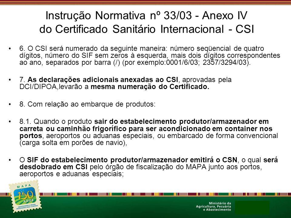 Instrução Normativa nº 33/03 - Anexo IV do Certificado Sanitário Internacional - CSI 6. O CSI será numerado da seguinte maneira: número seqüencial de