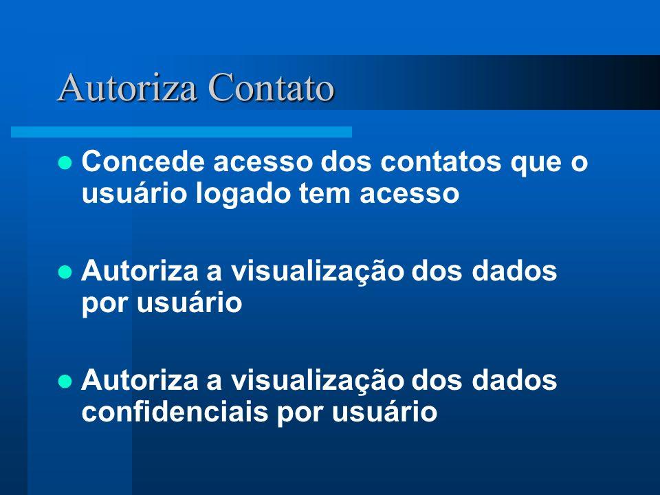 Autoriza Contato Concede acesso dos contatos que o usuário logado tem acesso Autoriza a visualização dos dados por usuário Autoriza a visualização dos dados confidenciais por usuário