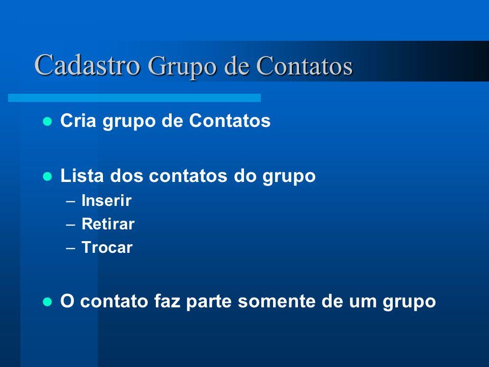 Cadastro Grupo de Contatos Cria grupo de Contatos Lista dos contatos do grupo –Inserir –Retirar –Trocar O contato faz parte somente de um grupo