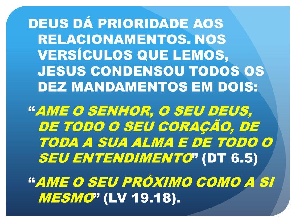 DEUS DÁ PRIORIDADE AOS RELACIONAMENTOS. NOS VERSÍCULOS QUE LEMOS, JESUS CONDENSOU TODOS OS DEZ MANDAMENTOS EM DOIS: AME O SENHOR, O SEU DEUS, DE TODO