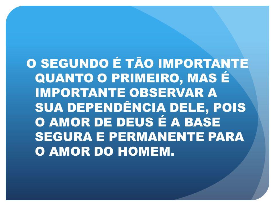 O AMOR DO HOMEM, SE NÃO ESTIVER BASEADO NO AMOR DE DEUS (INCONDICIONAL, ALTRUÍSTA, SACRIFICIAL, COM COMPROMISSO DE AGIR), SERÁ SEMPRE PASSÍVEL DE SUCUMBIR ÀS TENTAÇÕES DA AUTO-RECOMPENSA, DO AUTO- INTERESSE E DO SENTIMENTALISMO.