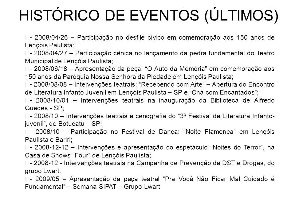 HISTÓRICO DE EVENTOS (ÚLTIMOS) - 2004/06/25 – Intervenções Teatrais Personagens de Vários Tempos - Reabertura do Museu Alexandre Chitto – Lençóis Paul