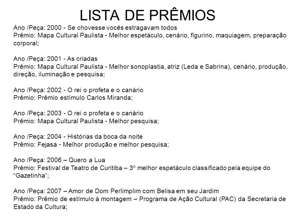 LISTA DE PRÊMIOS Ano /Peça: 1995 - Máscaras Prêmio: Mapa Cultural Paulista - Melhor Figurino, 3º Melhor espetáculo; Ano /Peça: 1996 - Dorotéia Prêmio: