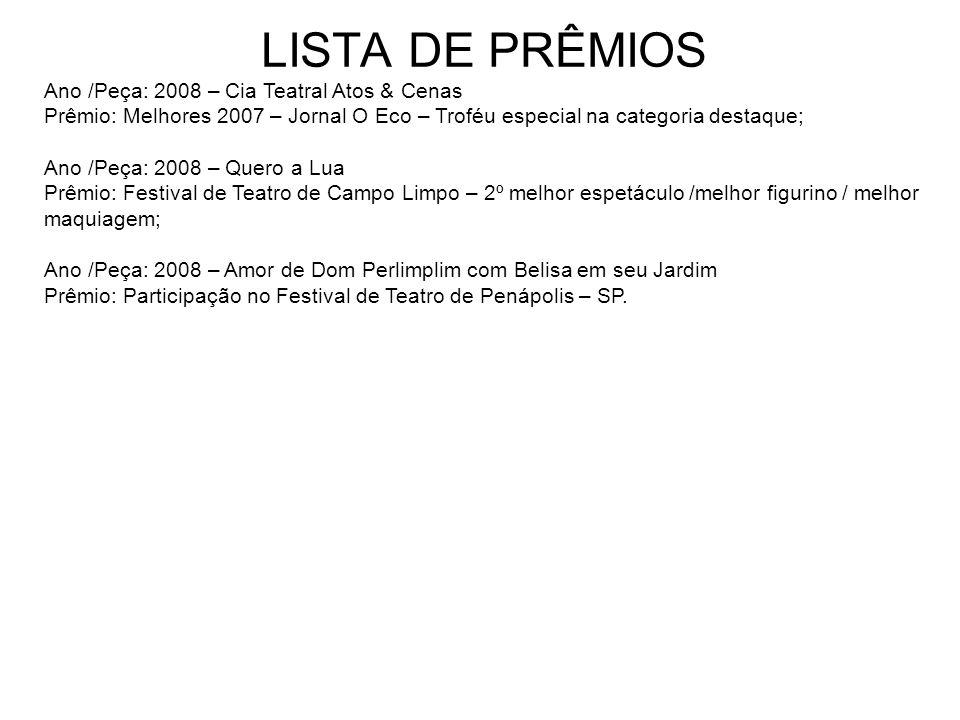 LISTA DE PRÊMIOS Ano /Peça: 2000 - Se chovesse vocês estragavam todos Prêmio: Mapa Cultural Paulista - Melhor espetáculo, cenário, figurino, maquiagem