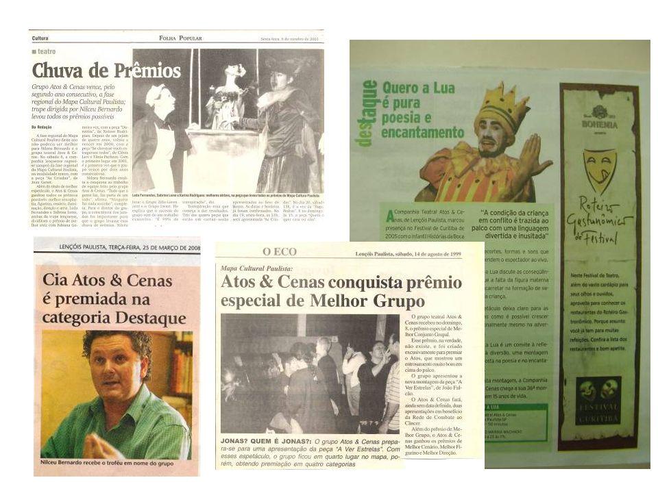 LISTA DE PRÊMIOS Ano /Peça: 2008 – Cia Teatral Atos & Cenas Prêmio: Melhores 2007 – Jornal O Eco – Troféu especial na categoria destaque; Ano /Peça: 2