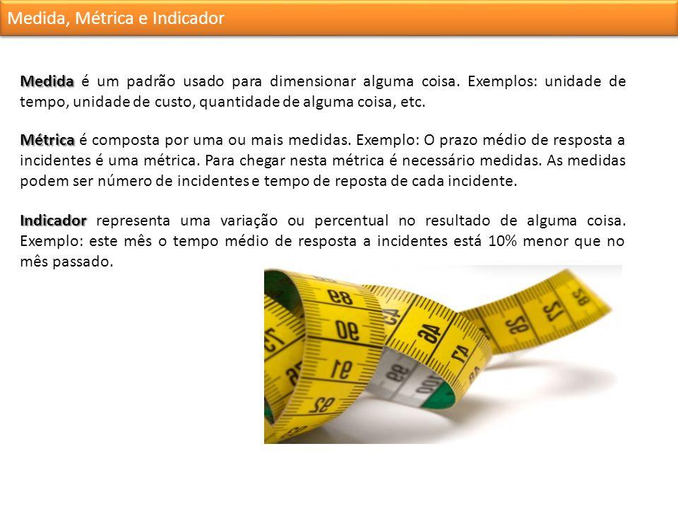 Medida, Métrica e Indicador Medida Medida é um padrão usado para dimensionar alguma coisa.
