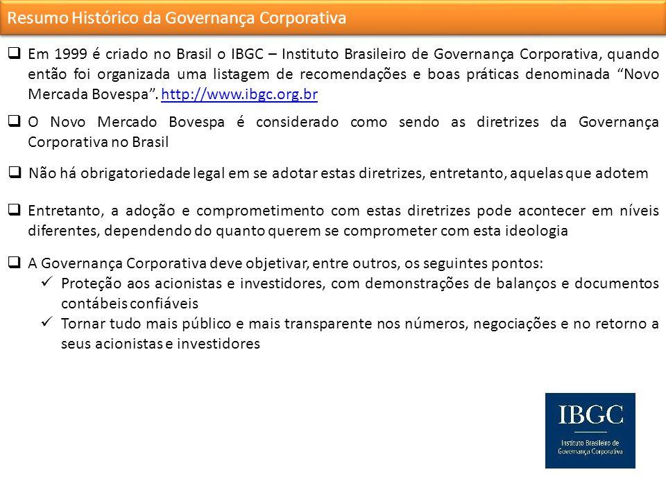 Resumo Histórico da Governança Corporativa Em 1999 é criado no Brasil o IBGC – Instituto Brasileiro de Governança Corporativa, quando então foi organizada uma listagem de recomendações e boas práticas denominada Novo Mercada Bovespa.
