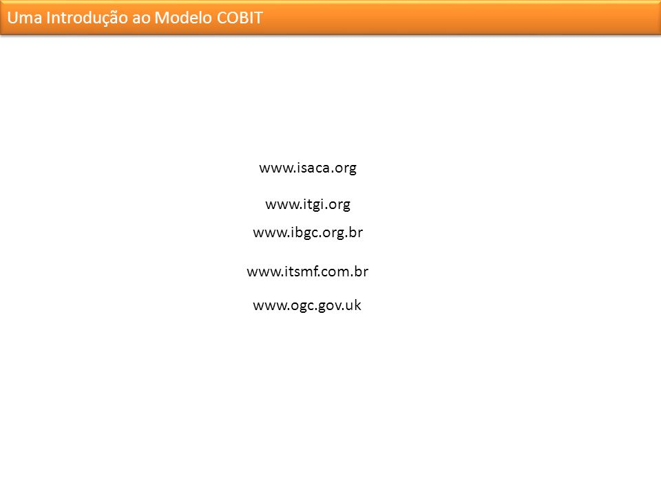 www.isaca.org www.itgi.org www.ibgc.org.br www.itsmf.com.br www.ogc.gov.uk