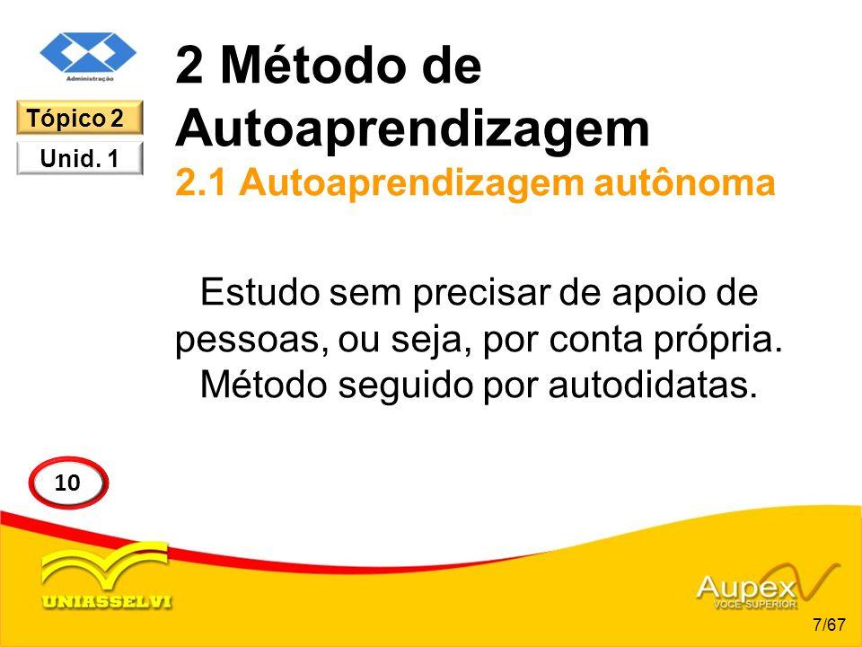2 Método de Autoaprendizagem 2.1 Autoaprendizagem autônoma Estudo sem precisar de apoio de pessoas, ou seja, por conta própria. Método seguido por aut