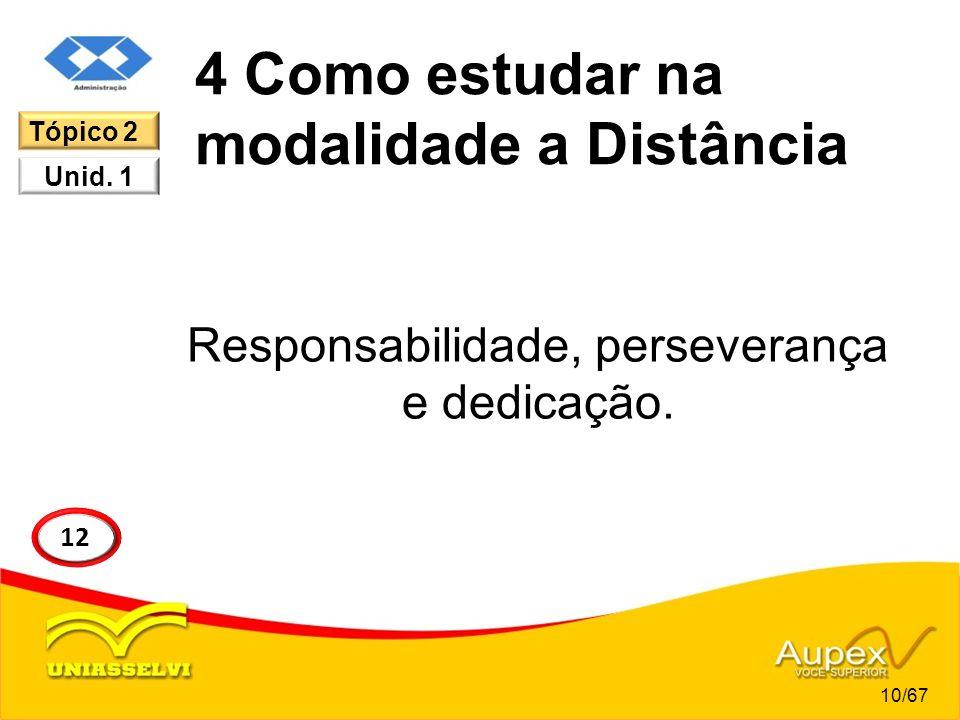 4 Como estudar na modalidade a Distância Responsabilidade, perseverança e dedicação. 10/67 12 Tópico 2 Unid. 1